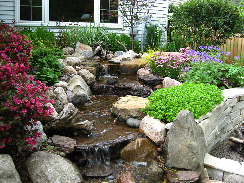 backyard waterfall pond